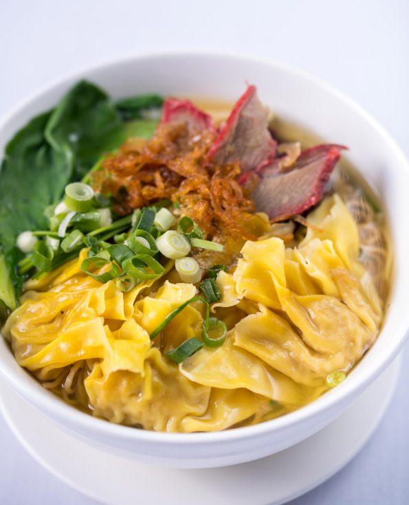 A photo of Won Ton & Chasiu Pork with Egg Noodle Soup
