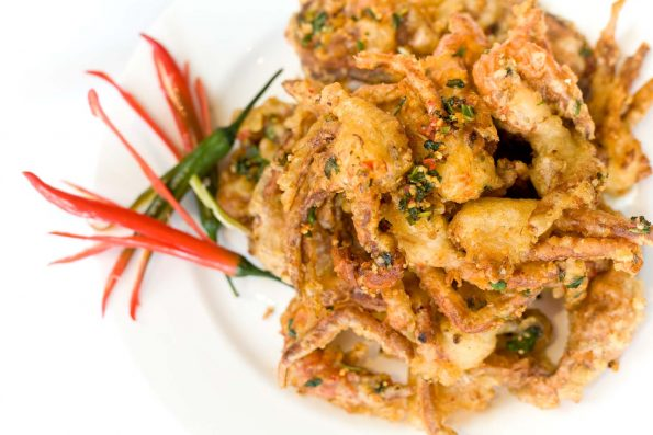 A photo of Crispy Soft Shell Crab with Ginger & Chilli