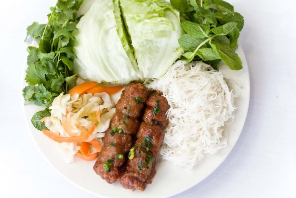 A photo of Skewered Minced Pork Balls food dish at the Vietnam Restaurant