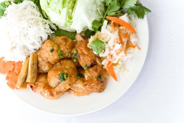 A photo of Sugar Cane Skewered Minced King Prawns food dish at the Vietnam Restaurant